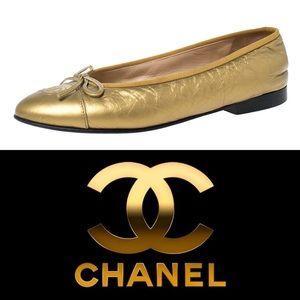 CHANEL • Vintage Gold Ballet Flats • Timeless!